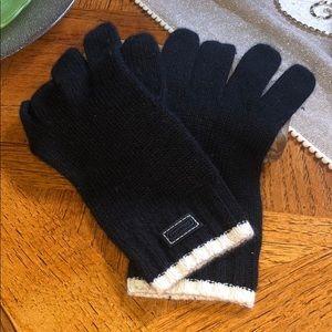 Authentic COACH Wool Gloves  Black w Cream Trim